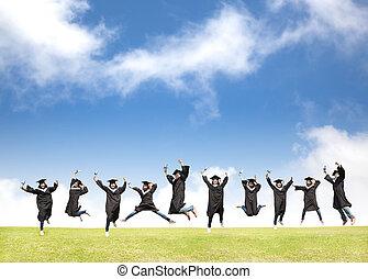 fakulta ák, celebrovat, promoce, a, šťastný, přeskočit