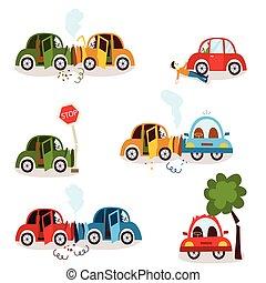 falência carro, acidente estrada, veículo, colisão, jogo