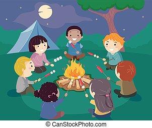 falò, stickman, campeggiare, bambini, illustrazione