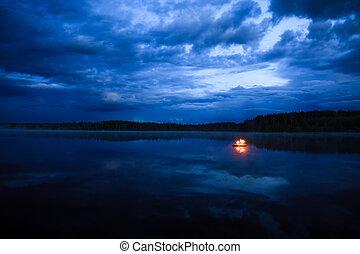 falò, su, il, lago