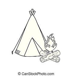 falò, tenda accampamento