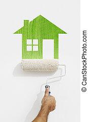 fal, épület, jelkép, elszigetelt, kéz, festék, zöld white, festmény, hajcsavaró