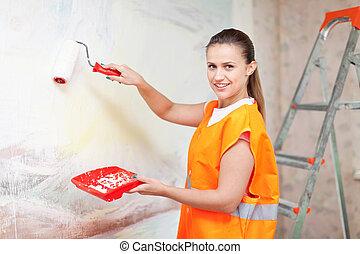 fal, épület, női, szobafestő, fest