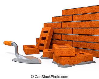 fal, épület, tégla, szerkesztés, új