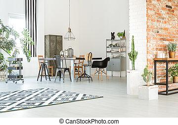 fal, étkező, tégla, szoba