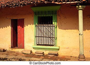 fal, öreg, ablak, ajtó, színes