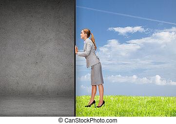 fal, üzletasszony, el, rámenős, beton