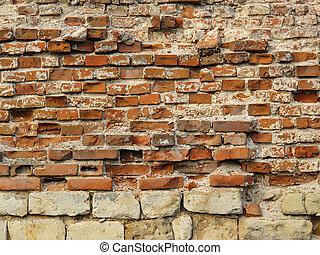 fal, ősi, struktúra, pusztítás