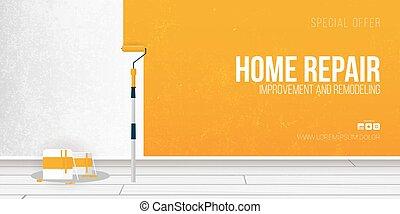 fal, banner., roller., otthon, festék, rendbehozás, festmény