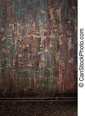 fal, belső, öreg, grunge, emelet