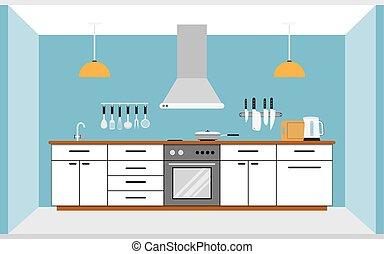 fal, belső, konyha
