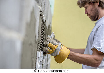fal, beton, építő, cserepezés