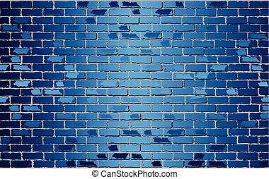 fal, fényes, kék, tégla