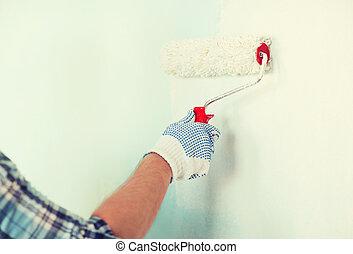 fal, feláll, pár kesztyű, becsuk, hím, festmény