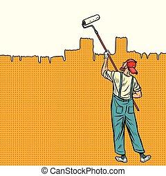 fal, fest, tető, szobafestő