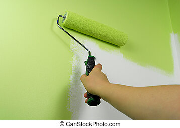 fal, festmény, zöld, kéz
