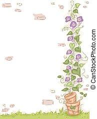 fal, floral szőlőtőke, kert