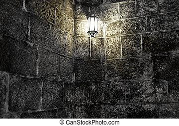 fal, forma, öreg, égető, lamp.