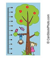 fal, gyerekek, méter