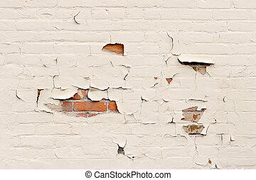 fal, hámlás, felett, tégla, festék