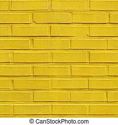 fal, motívum, tégla, seamless, sárga