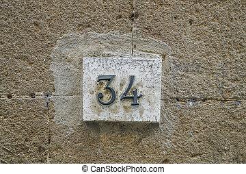 fal, négy, szám, harminc