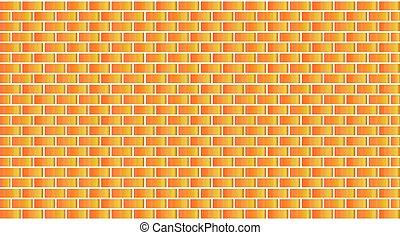 fal, narancs, tégla, vektor, sárga