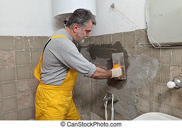 fal, saját renovation, kőműves, rögzítő
