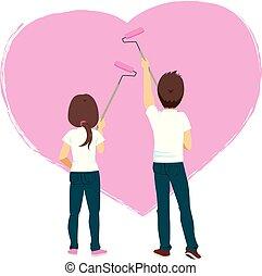 fal, szív, párosít, festmény