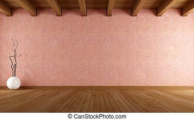 fal, szoba, üres, stukkó