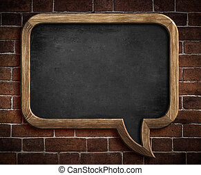 fal, tábla, beszéd, háttér, tégla, buborék