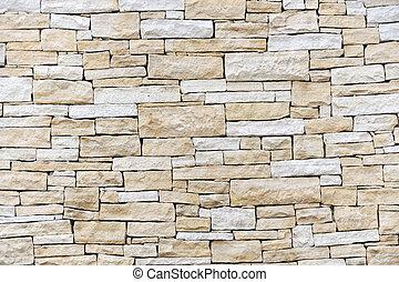 fal, téglák, elkészített, homokkő