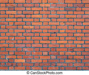 fal, téglák, tégla, piros háttér