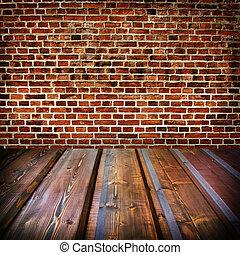 fal, tégla, öreg, szoba