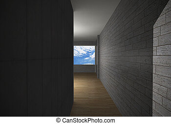 fal, tégla, erdő, szoba, emelet