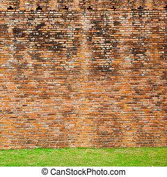 fal, tégla, fű, piros, emelet