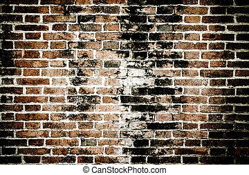 fal, tégla, háttér, struktúra