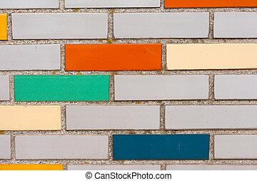 fal, tégla, mellékvágány, színes, hamisít