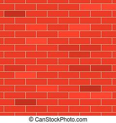 fal, tégla, piros, struktúra