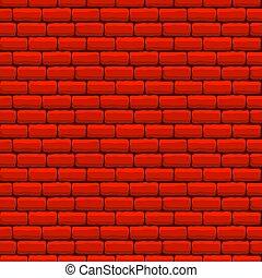 fal, tégla, seamless, struktúra, piros