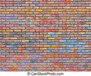 fal, tégla, színes, struktúra