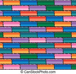 fal, tégla, vektor, színes