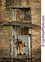 fal, törött, öreg, ajtó, tégla