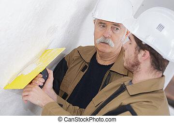 fal, vakolat, tégla, férfiak, restaurálás