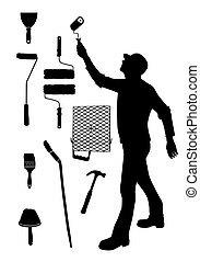 fal, vektor, szobafestő