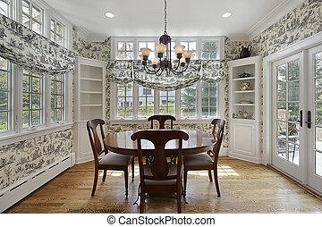 fal, windows, reggeliző szoba