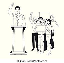 fala, audiência, homem, signboard, fazer