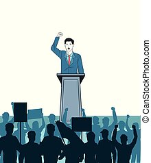 fala, audiência, homem, silueta, fazer