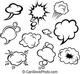 fala, bolhas, nuvens