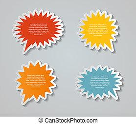 fala, bolhas, vetorial, adesivos, ilustração